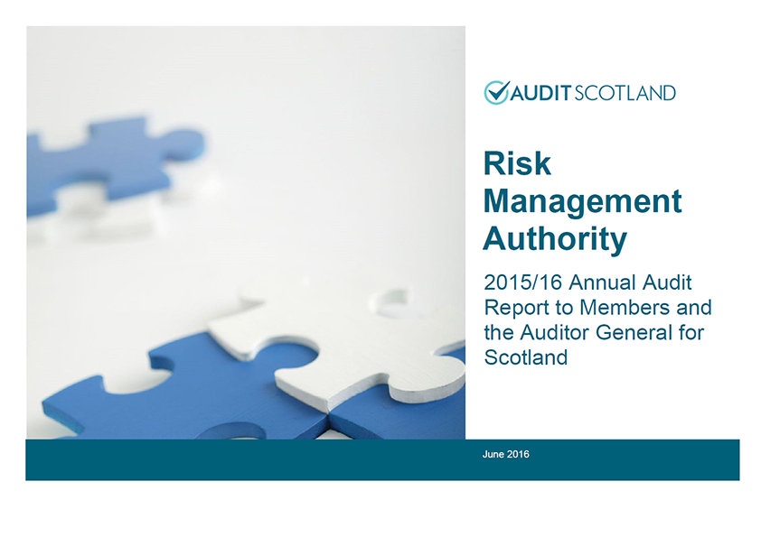 Report cover: Risk Management Authority annual audit 2015/16
