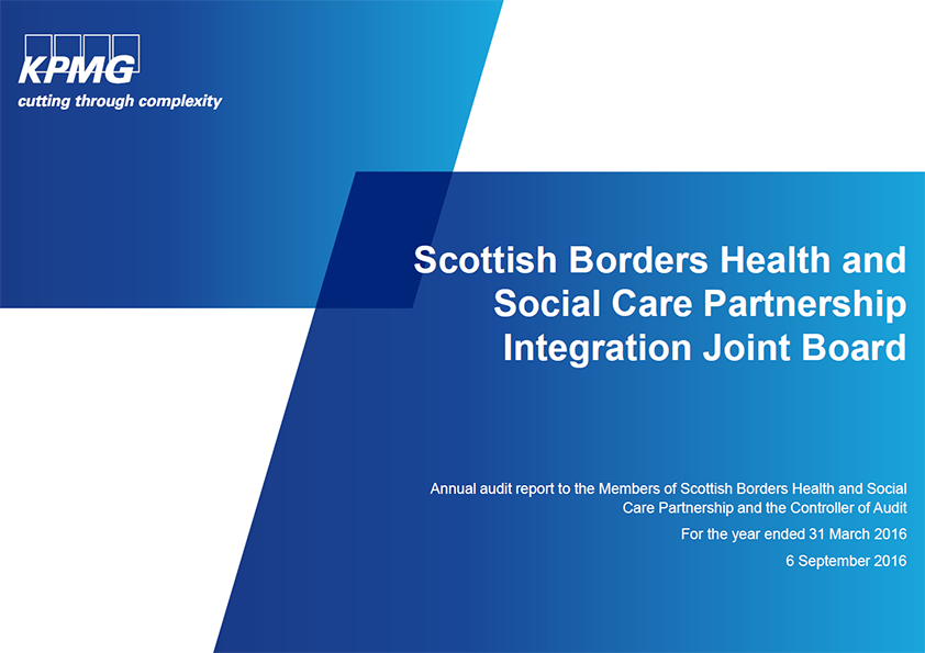 Report cover: Scottish Borders Health and Social Care Partnership Integration Joint Board annual audit 2015/16