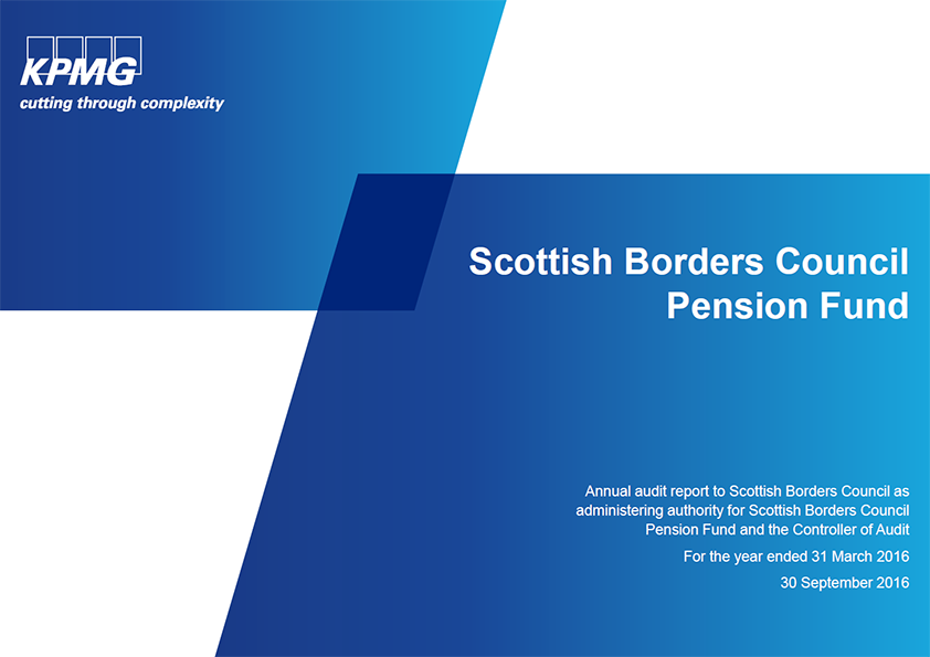 Report cover: Scottish Borders Council Pension Fund annual audit 2015/16