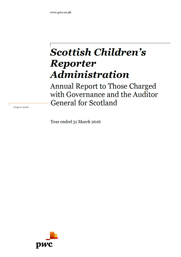 Report cover: Scottish Children's Reporter Administration annual audit 2015/16