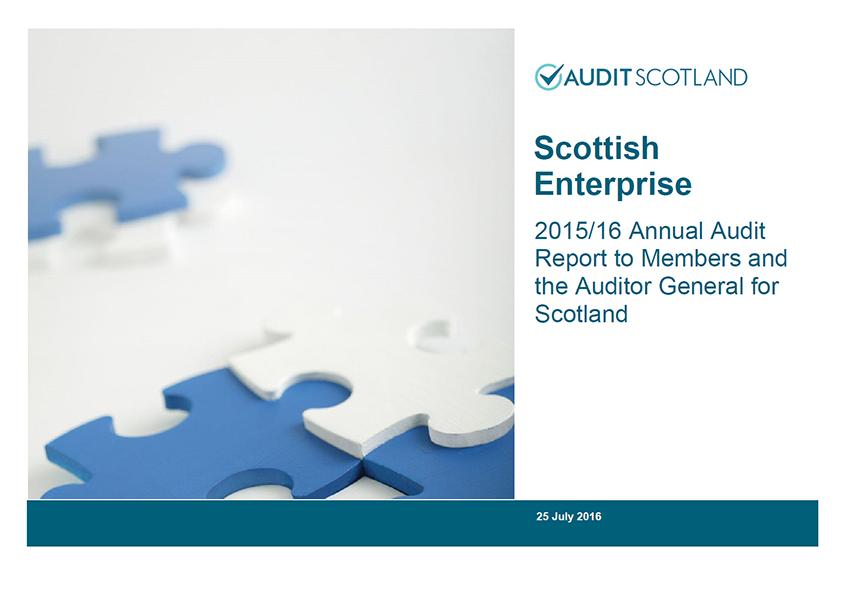 Report cover: Scottish Enterprise annual audit 2015/16