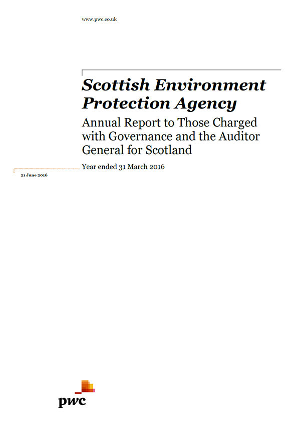 Report cover: Scottish Environment Protection Agency annual audit 2015/16