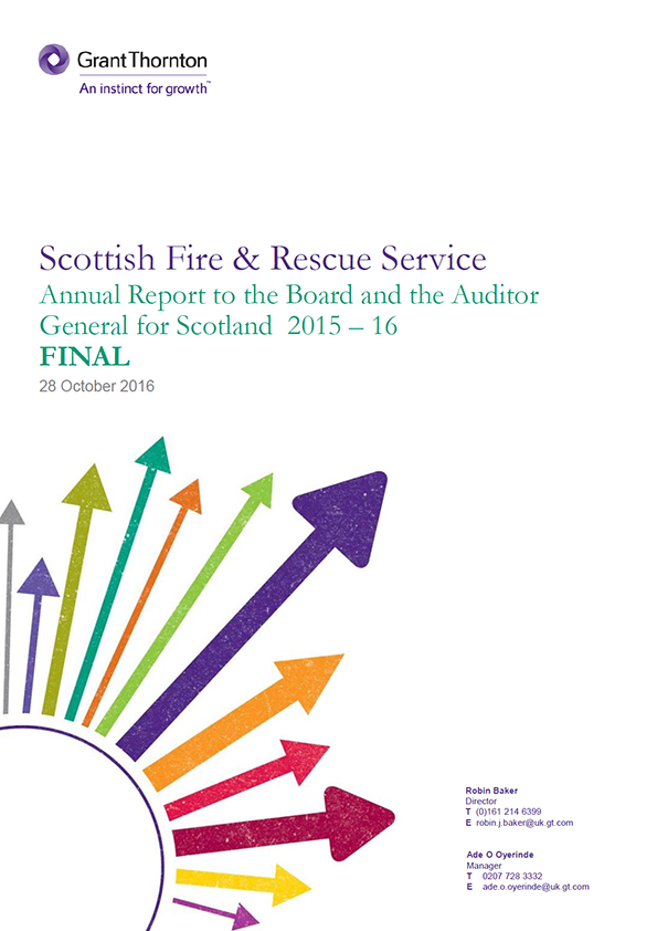 Report cover: Scottish Fire and Rescue Service annual audit 2015/16