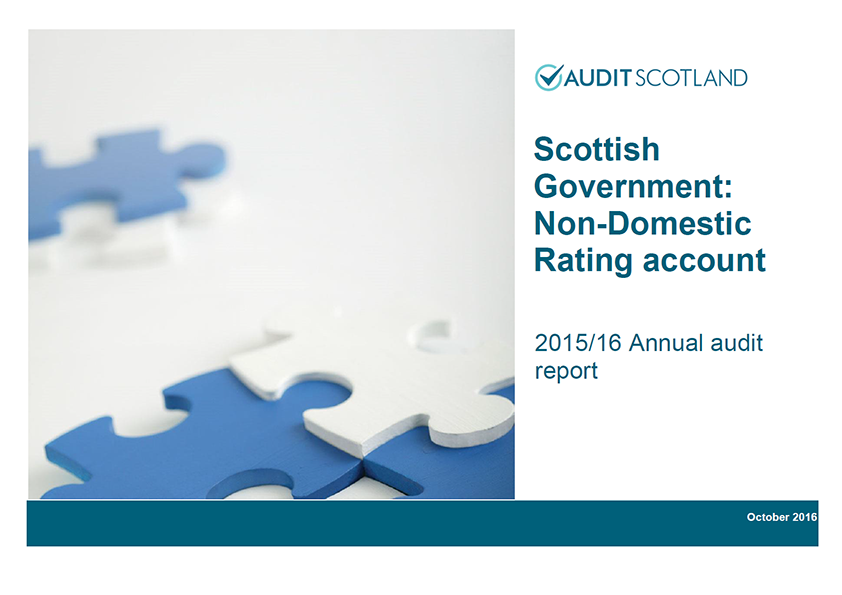 Report cover: Scottish Government: Non-Domestic Rating account annual audit 2015/16