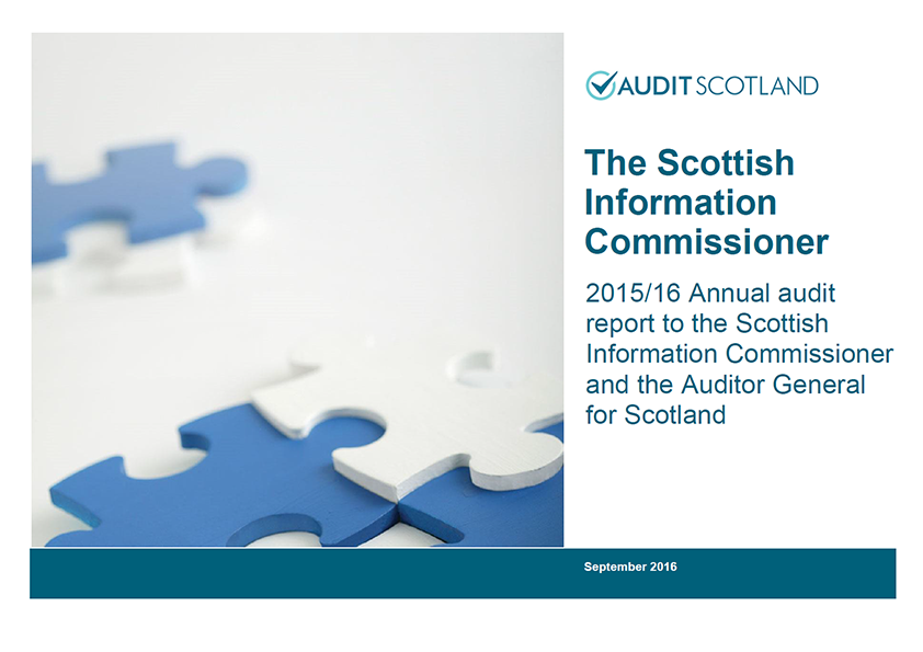 Report cover: Scottish Information Commissioner annual audit 2015/16
