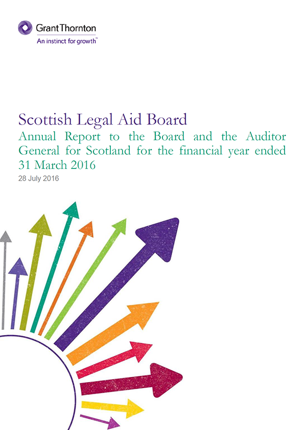 Report cover: Scottish Legal Aid Board annual audit 2015/16