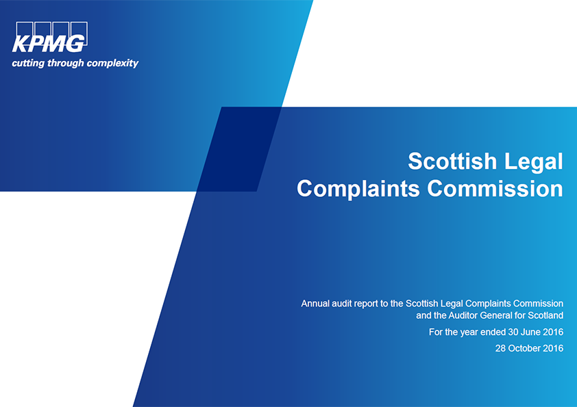 Report cover: Scottish Legal Complaints Commission annual audit 2015/16