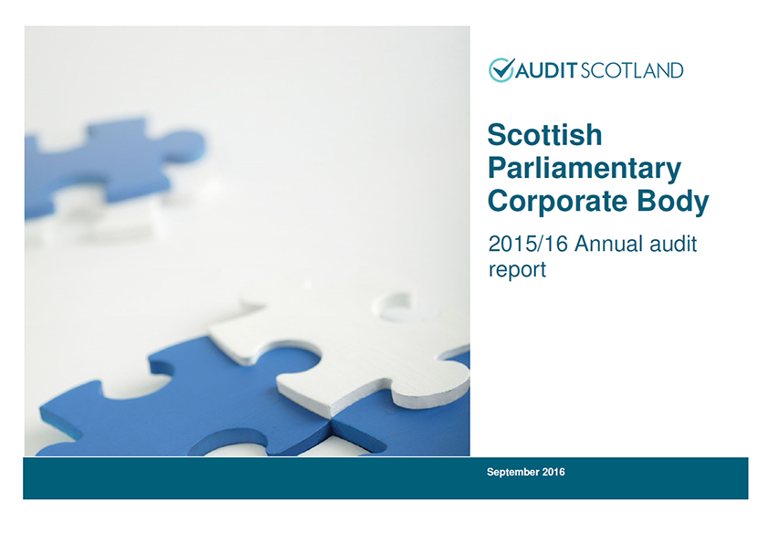 Report cover: Scottish Parliamentary Corporate Body annual audit 2015/16