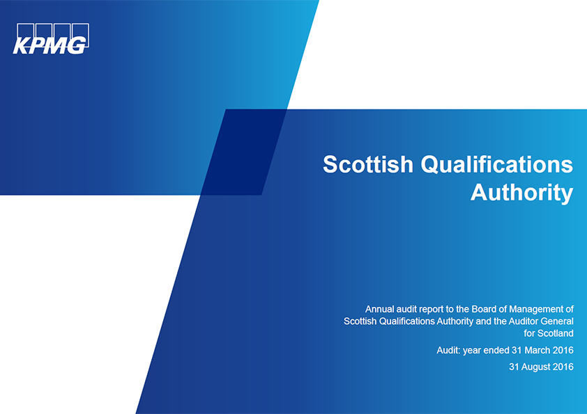 Report cover: Scottish Qualifications Authority annual audit 2015/16