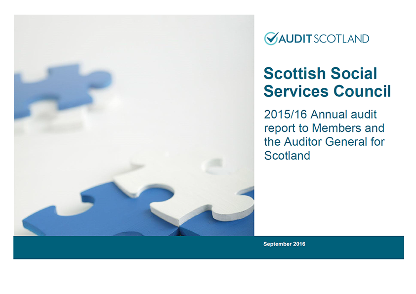 Report cover: Scottish Social Services Council annual audit 2015/16