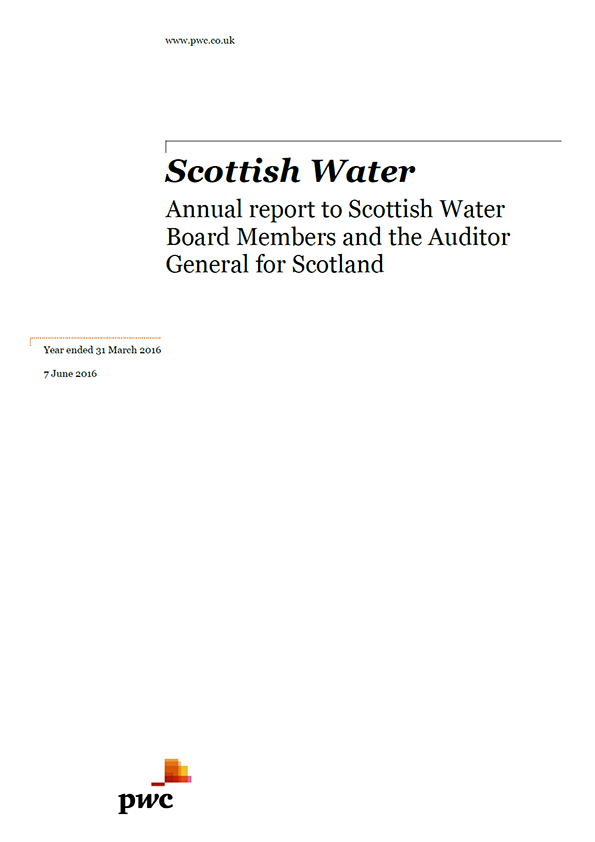 Report cover: Scottish Water annual audit 2015/16