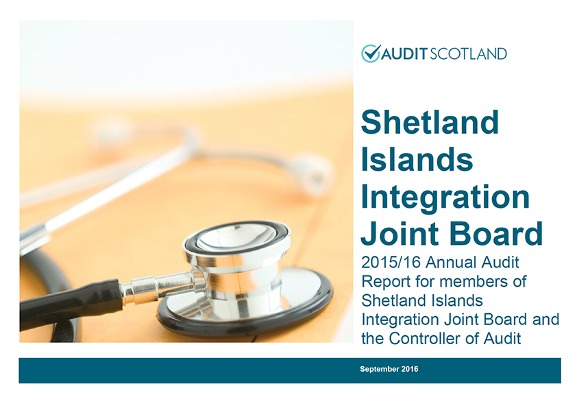 Report cover: Shetland Islands Integration Joint Board annual audit 2015/16