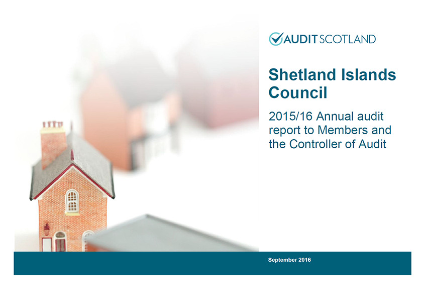 Report cover: Shetland Islands Council annual audit 2015/16