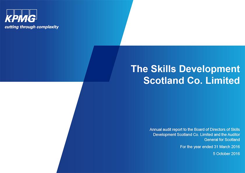 Report cover: Skills Development Scotland annual audit 2015/16