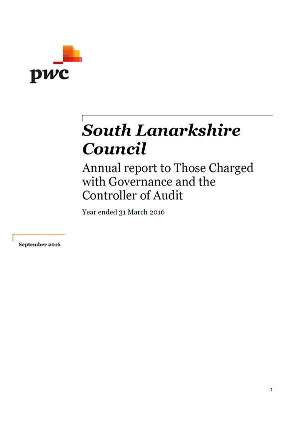 Report cover: South Lanarkshire Council annual audit 2015/16