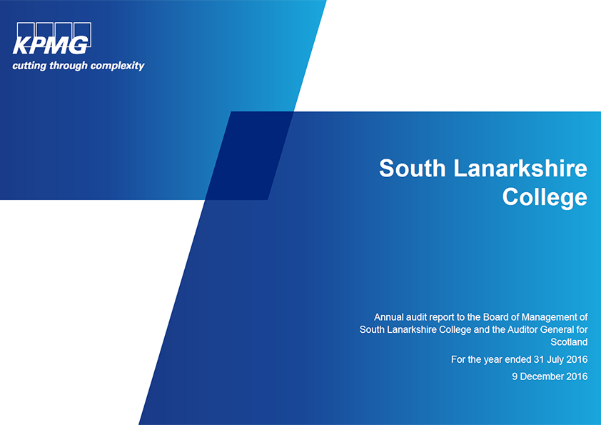 Report cover: South Lanarkshire College annual audit 2015/16