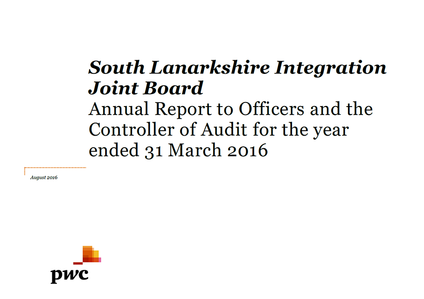Report cover: South Lanarkshire Integration Joint Board annual audit 2015/16