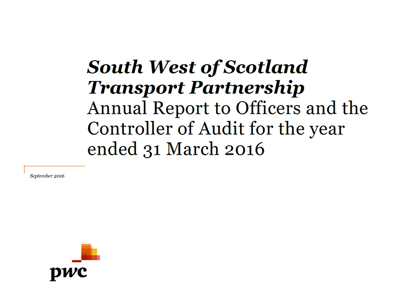 Report cover: South West of Scotland Transport Partnership annual audit 2015/16