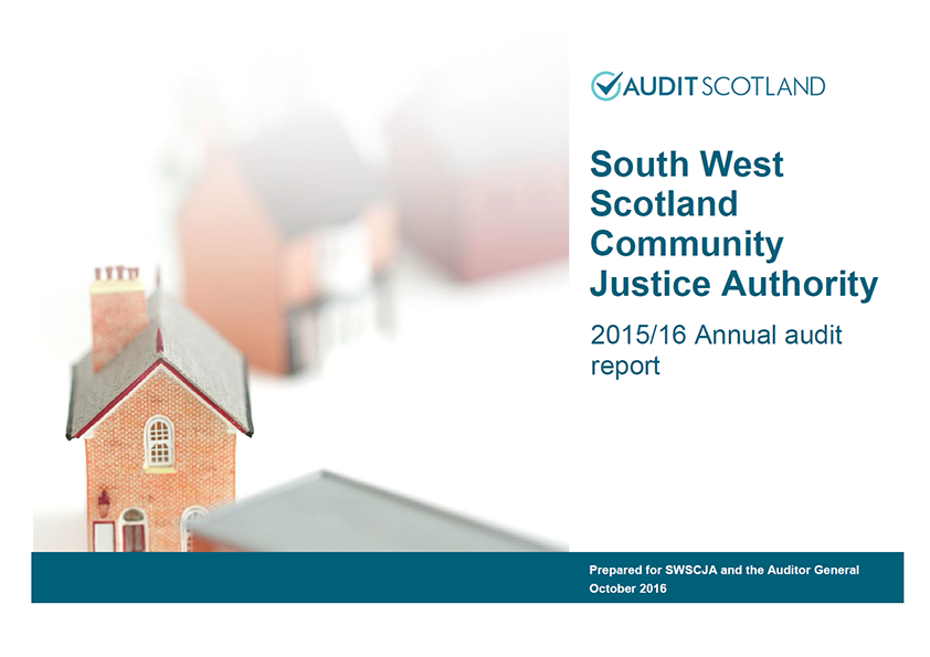 Report cover: South West Scotland Community Justice Authority annual audit 2015/16