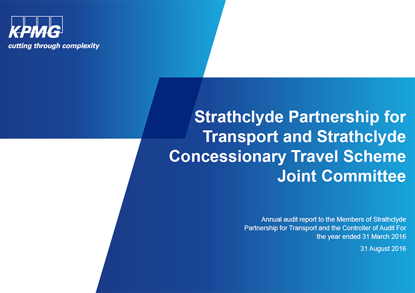 Report cover: Strathclyde Partnership for Transport and Strathclyde Concessionary Travel Scheme Joint Committee annual audit 2015/16