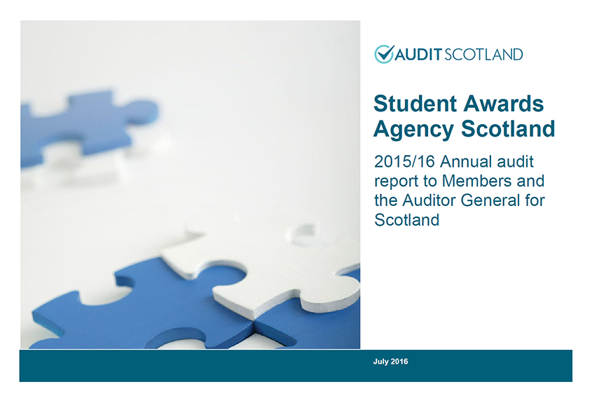Report cover: Student Awards Agency Scotland annual audit 2015/16