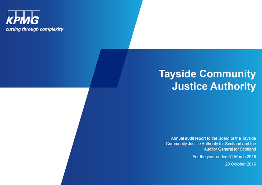 Report cover: Tayside Community Justice Authority annual audit 2015/16