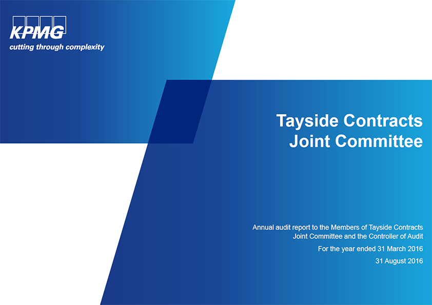 Report cover: Tayside Contracts Joint Committee annual audit 2015/16