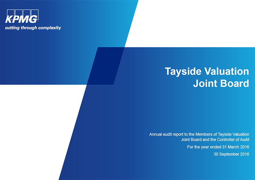 Report cover: Tayside Valuation Joint Board annual audit 2015/16