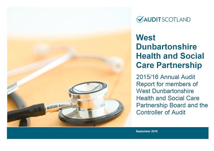 Report cover: West Dunbartonshire Health and Social Care Partnership annual audit 2015/16