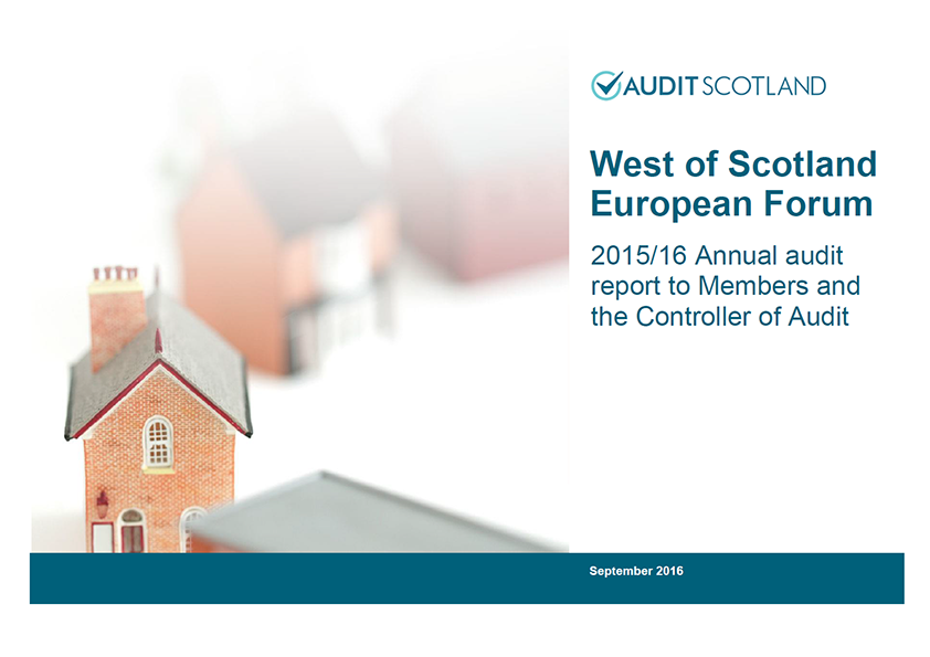 Report cover: West of Scotland European Forum annual audit 2015/16