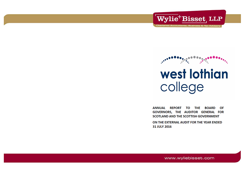 Report cover: West Lothian College annual audit 2015/16