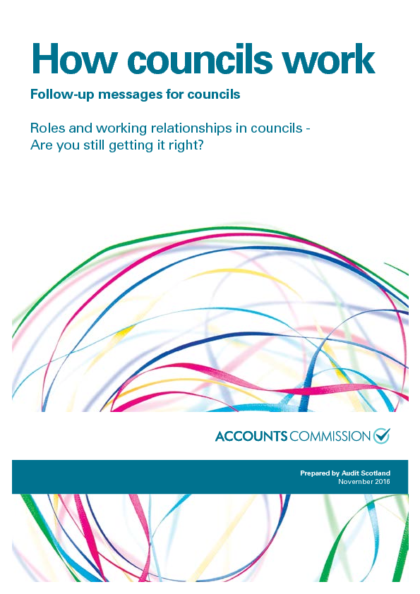 Report cover: How councils work - Roles and working relationships in councils: are you still getting it right?