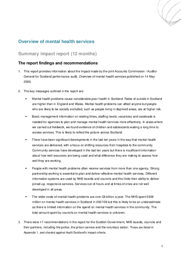 Report cover: Overview of mental health services - Impact report