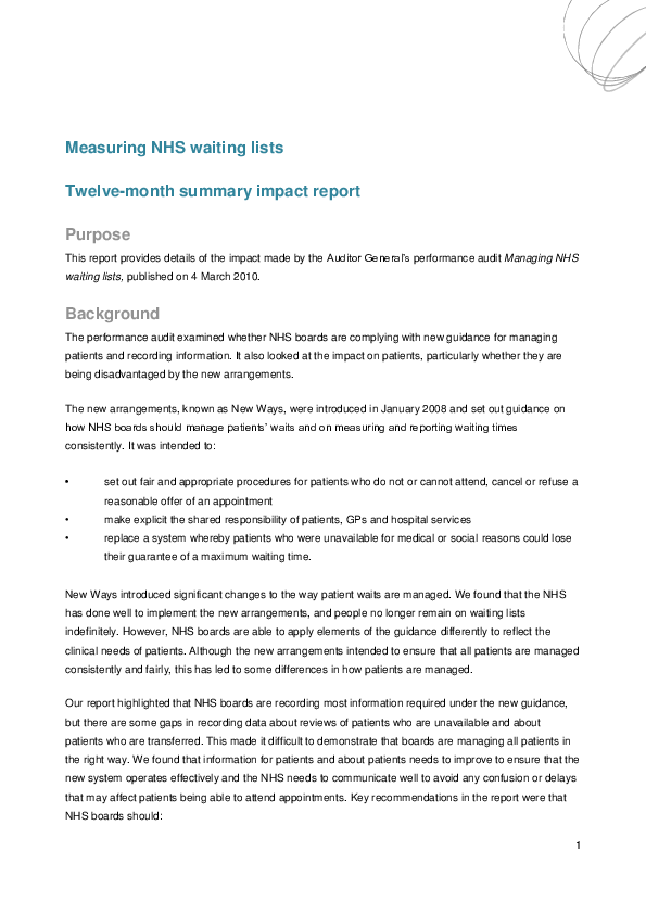 Report cover: Measuring NHS waiting lists - Impact report