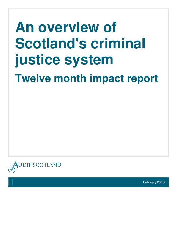 Report cover: An overview of Scotland's criminal justice system - Impact report