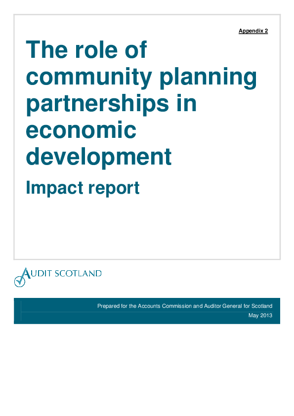 Report cover: The role of community planning partnerships in economic development - Impact report