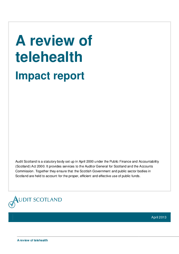 Report cover: A review of telehealth in Scotland - Impact report
