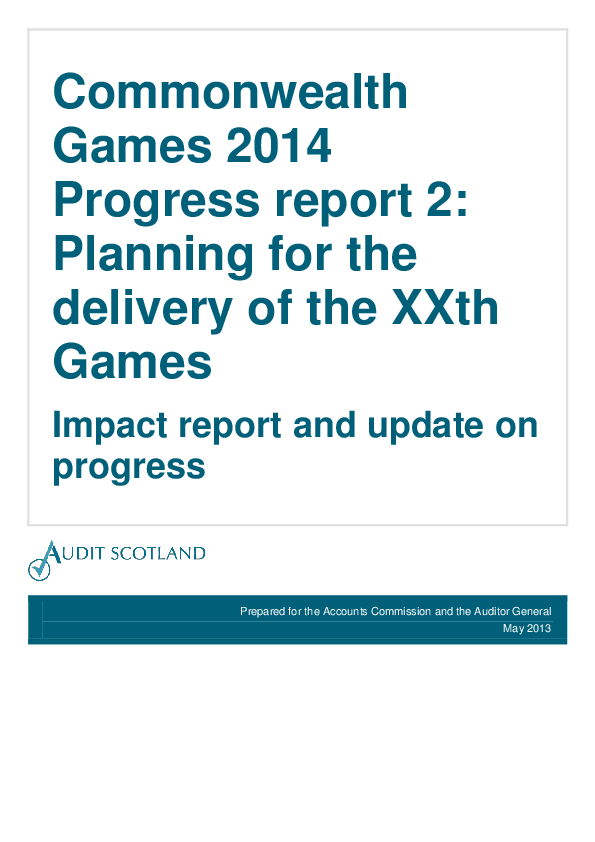 Report cover: Commonwealth Games 2014 progress report 2: Planning for the delivery of the XXth Games - Impact report