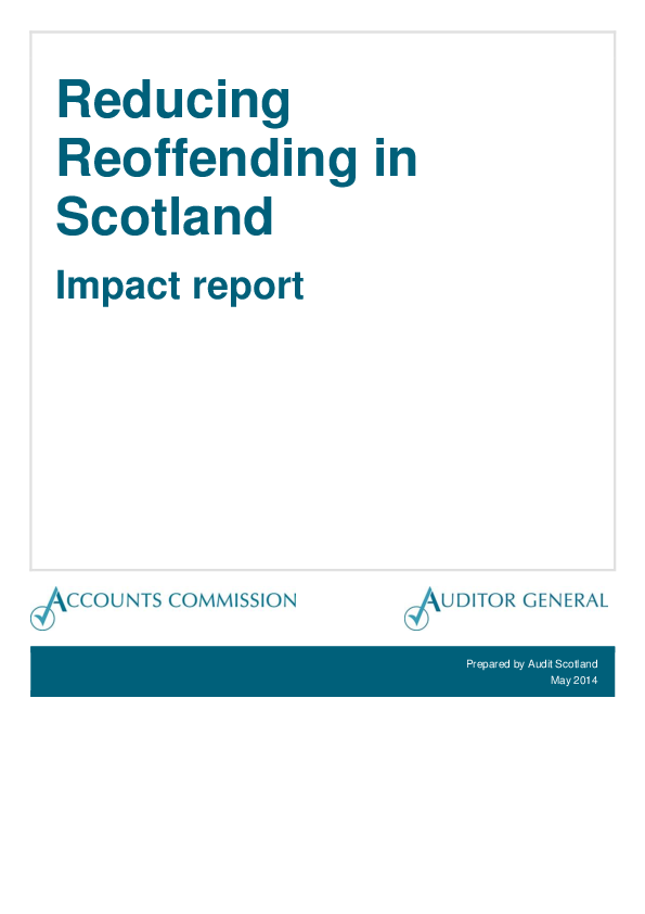 Report cover: Reducing reoffending in Scotland - Impact report