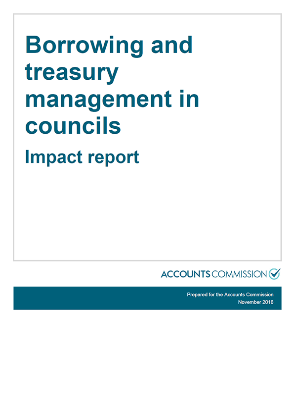 Report cover: Borrowing and treasury management in councils - Impact report