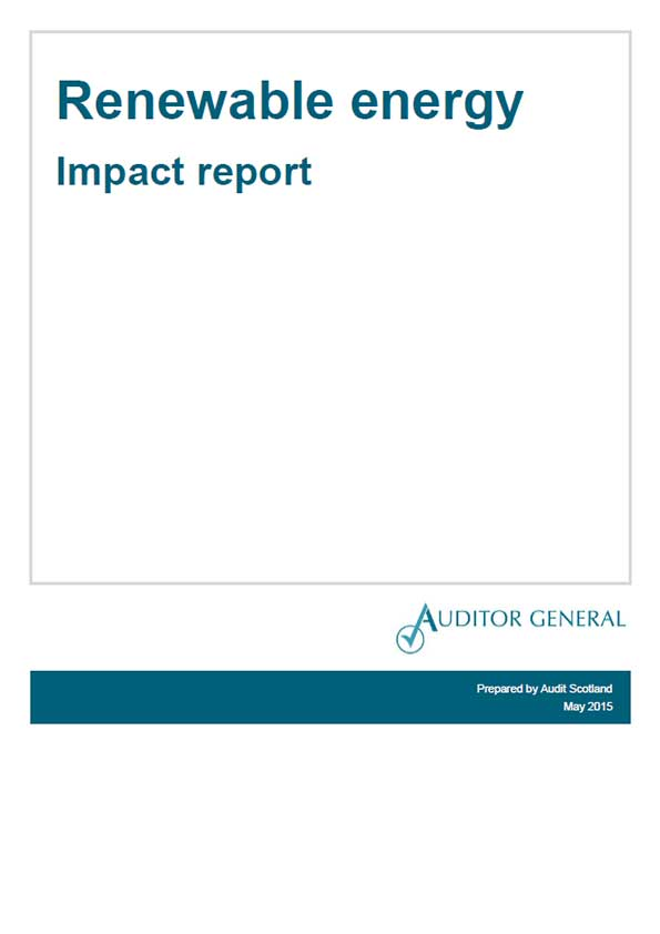 Report cover: Renewable energy - Impact report