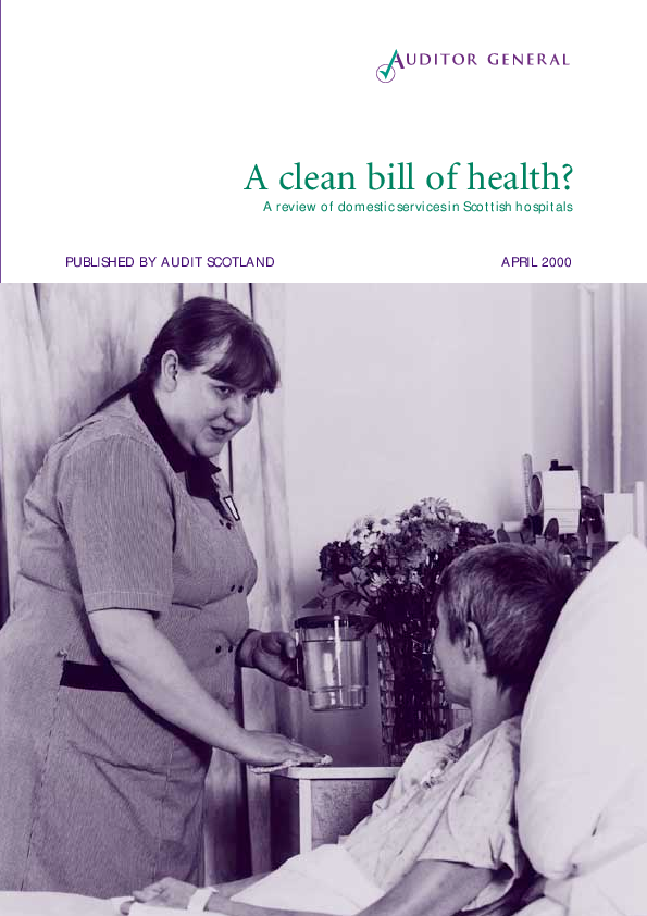 Report cover: A clean bill of health? A review of domestic services in Scottish hospitals