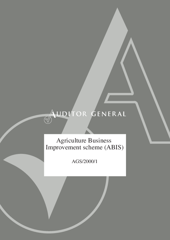 Report cover: The Agricultural Business Improvement Scheme