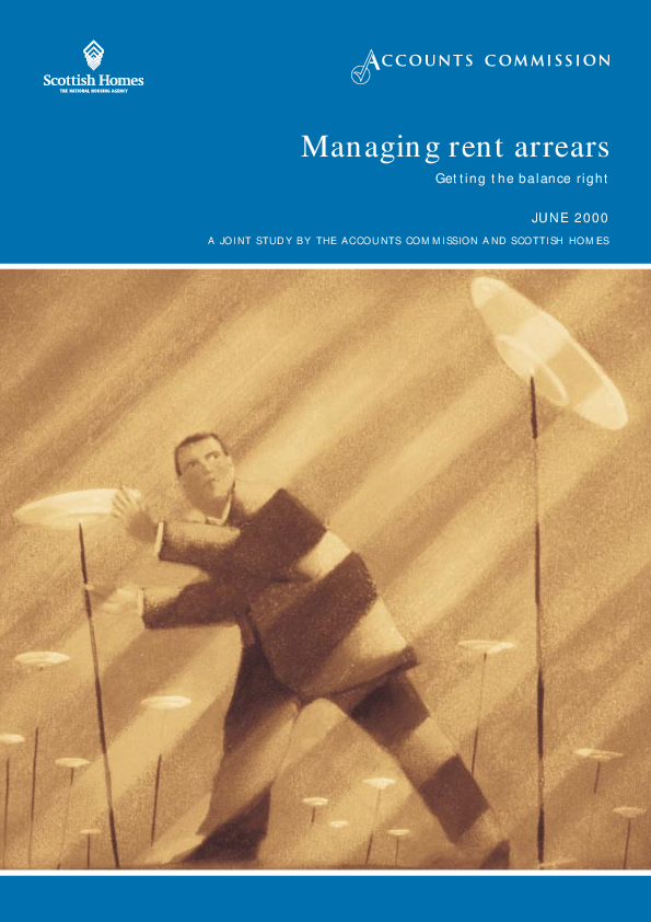 Report cover: Managing rent arrears - Getting the balance right