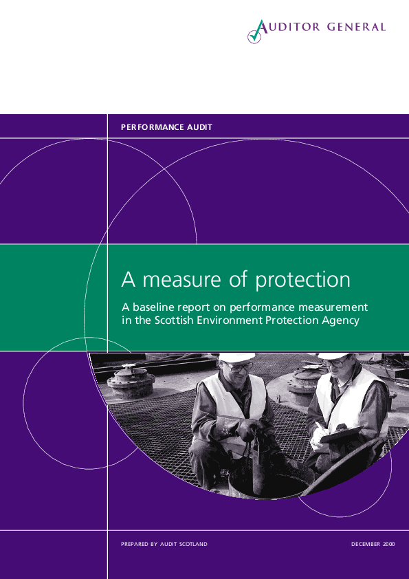 Report cover: A measure of protection - A baseline report on performance measurement in the Scottish Environmental Protection Agency