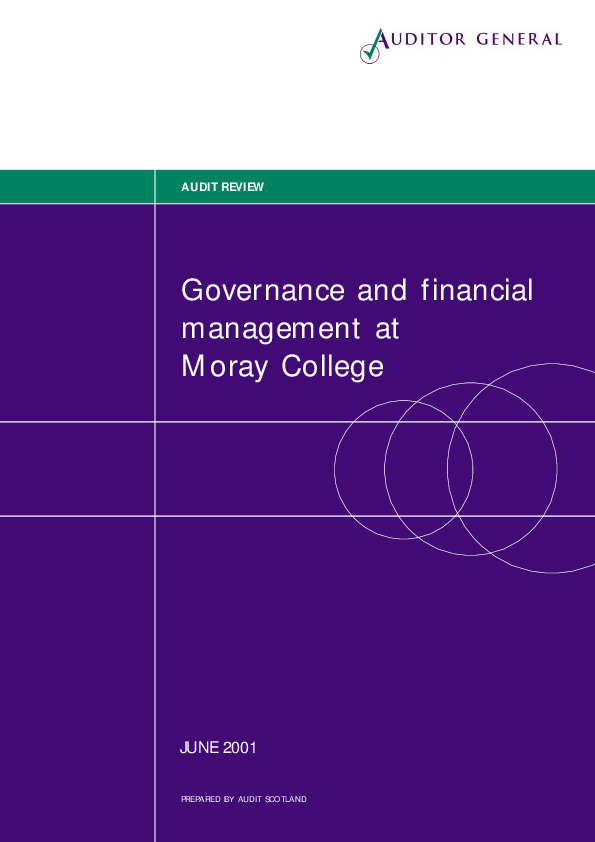Report cover: Governance and financial management at Moray College