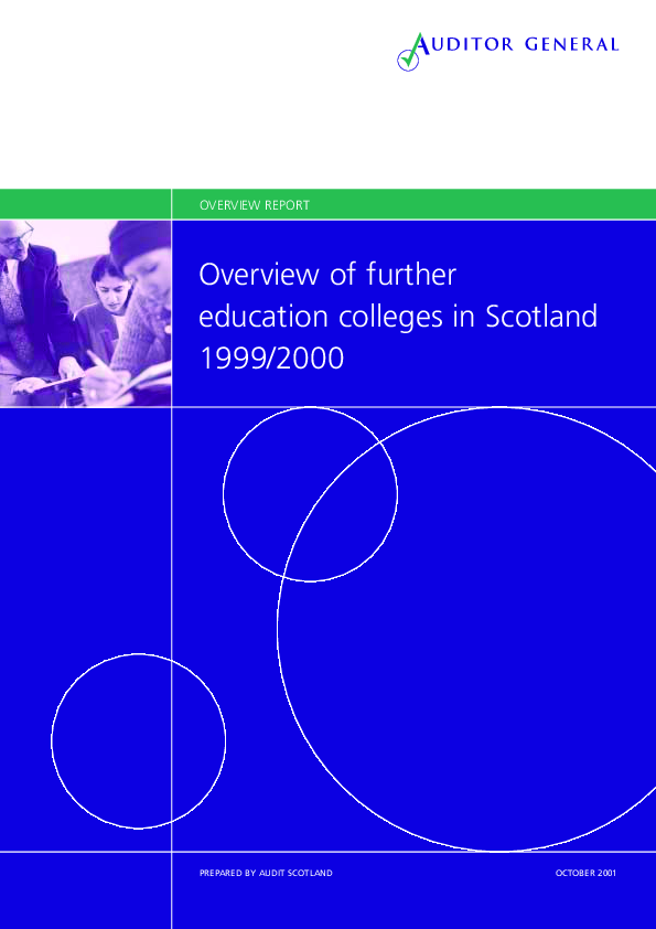 Report cover: Overview of Further Education colleges in Scotland 1999/2000