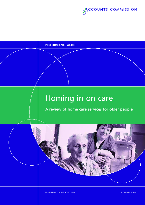 Report cover: Homing in on care : A review of home care services for older people