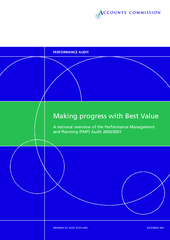 Report cover: Making Progress with Best Value - A national overview of the Performance Management and Planning (PMP) Audit 2000/2001