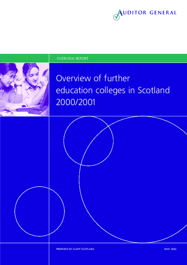 Report cover: Overview of further education colleges in Scotland
